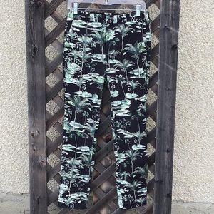Zara green tree design pants stretchy w pockets